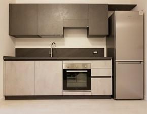 Cucina lineare in laminato materico grigio Evolution a prezzo scontato