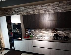 Cucina lineare in laminato materico grigio Ginevra a prezzo ribassato