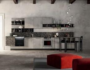 Cucina lineare in laminato materico grigio  industrial glam cemento a prezzo scontato