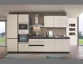 Cucina lineare in laminato materico grigio Zoe a prezzo scontato