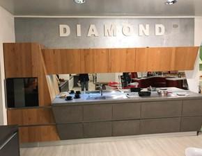 Cucina lineare in legno altri colori Diamond rovere + cemento a prezzo ribassato
