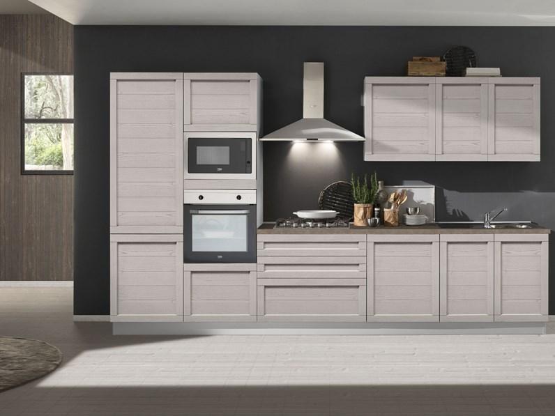 Cucina lineare in legno bianca Elsa a prezzo scontato