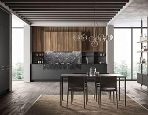 Cucina lineare in legno grigio Kalì a prezzo ribassato
