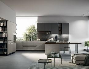Cucina lineare in legno grigio Tekna a prezzo ribassato