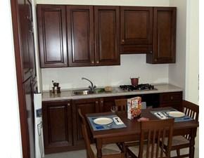 Cucina lineare in legno noce Agnese a prezzo ribassato