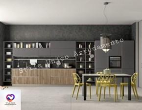 Cucina lineare in legno noce Bookshelf a prezzo scontato