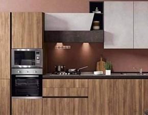 Cucina lineare in legno noce Marilin a prezzo ribassato