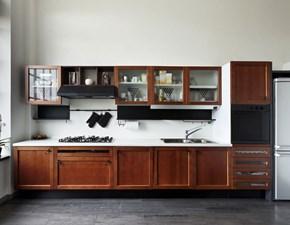 Cucina lineare in legno noce Mobilike susan a prezzo ribassato