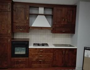 Cucina lineare in legno noce Rebecca a prezzo scontato