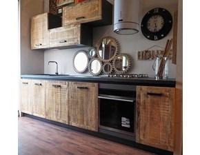 Cucina lineare in legno rovere chiaro Cucina industrial vintage ante legno  a prezzo scontato