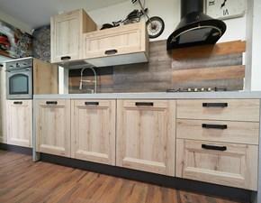 Cucina lineare in legno rovere chiaro Cucina lineare modello telaio effetto rovere in offerta   a prezzo scontato