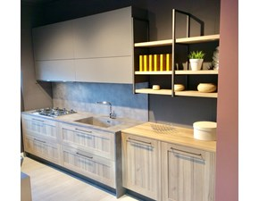 Cucina lineare in legno rovere chiaro K 2 a prezzo ribassato