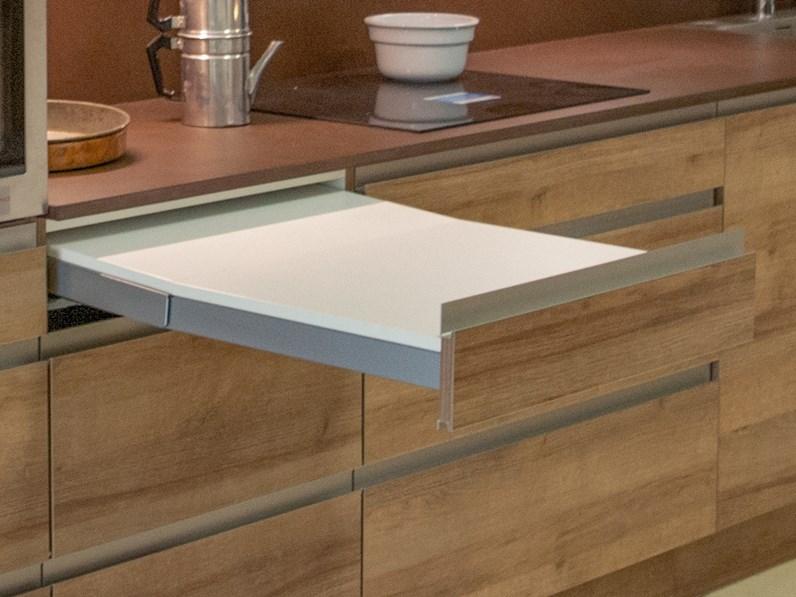 Cucina lineare in legno rovere chiaro riva a prezzo scontato - Cucina legno chiaro ...