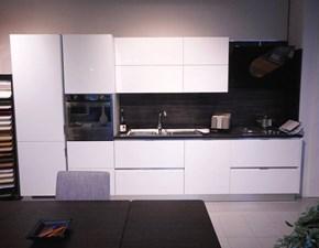 Cucina lineare in polimerico lucido bianca Easy a prezzo scontato