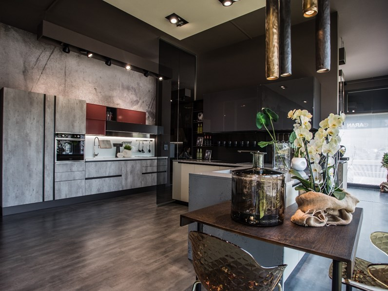 Cucina moderna effetto cemento a prezzo ribassato 54%