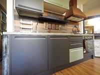 cucina lineare industrail green in offerta expo complata di cappa ...