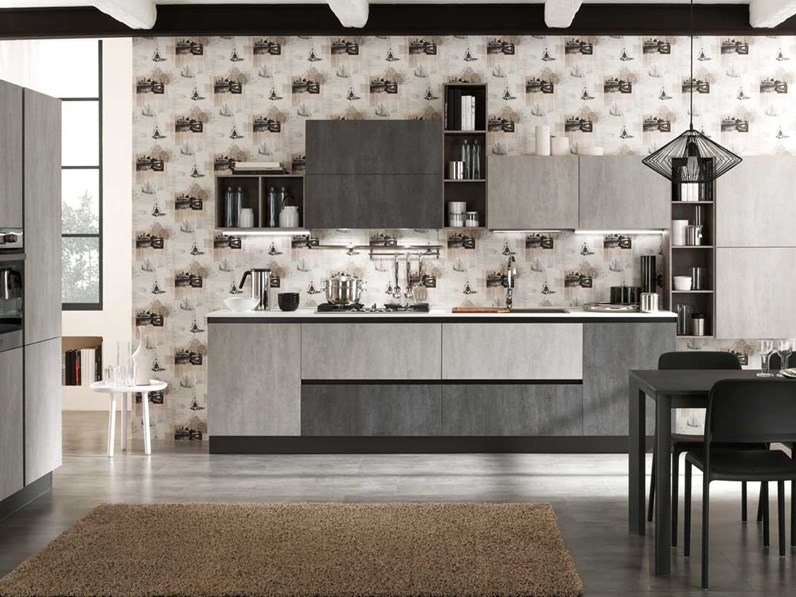 Cucina lineare industriale con colonne grigio cemento in for Cucina lineare offerta