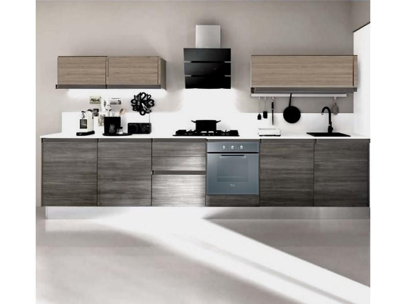 cucina lineare maniglia gola titanio brown e grigio moderna linea in ...