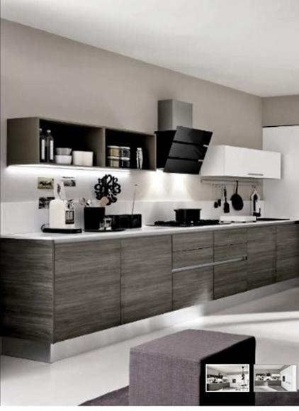 cucina lineare maniglia gola titanio brown e grigio moderna linea ...