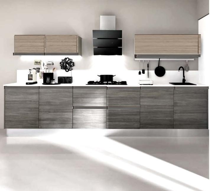cucina lineare maniglia gola titanio brown e grigio moderna linea in offerta - Cucine a prezzi ...