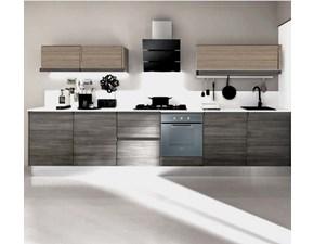 cucina lineare maniglia gola titanio brown e grigio moderna linea in offerta