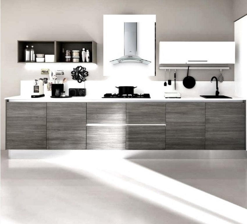 cucina lineare moderna eco con cappa glass circle completa ...