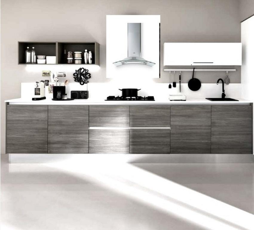 Cucina lineare moderna eco con cappa glass circle completa for Cappa cucina moderna