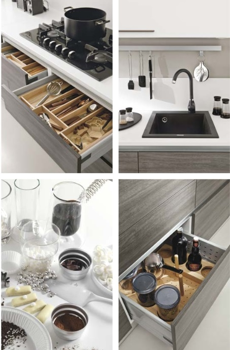 Cucina lineare moderna eco con cappa glass circle completa for Cucina completa offerta