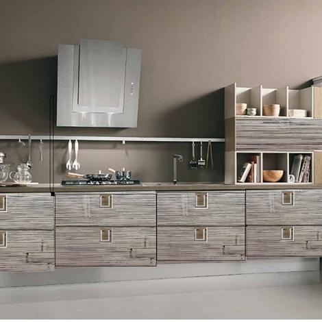Cucina lineare moderna in legno e crash bambu grigio for Cucina lineare offerta