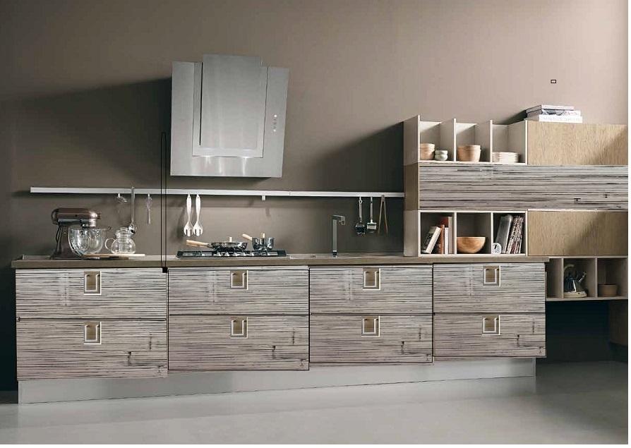 cucina lineare moderna in legno e crash bambu grigio decape\' e ...