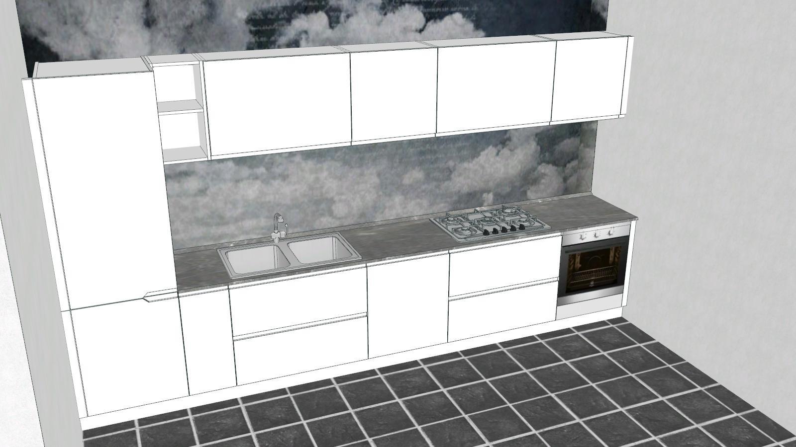 Cucina lineare moderna laccata lucida completa di for Cucina moderna laccata lucida