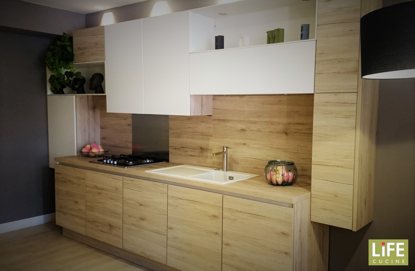 Cucina lineare moderna life due pareti laminato legno - Cucina laminato effetto legno ...