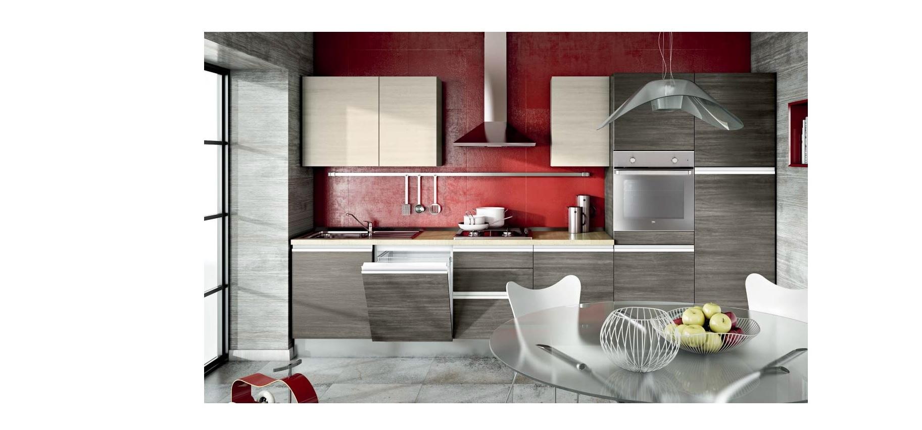 Cucina lineare moderna linea in offerta completa con for Forno a legna cucina moderna