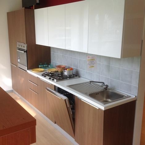 cucina lineare mt 3.60 noce canaletto + bianco lucido - Cucine a prezzi scontati