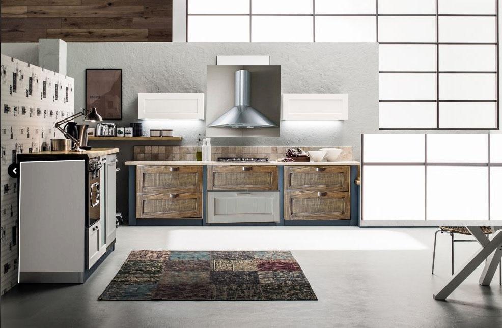 Cucina lineare vintage industrial in offerta in legno completa di ellettrodomestici cucine a - Quadri cucina vintage ...