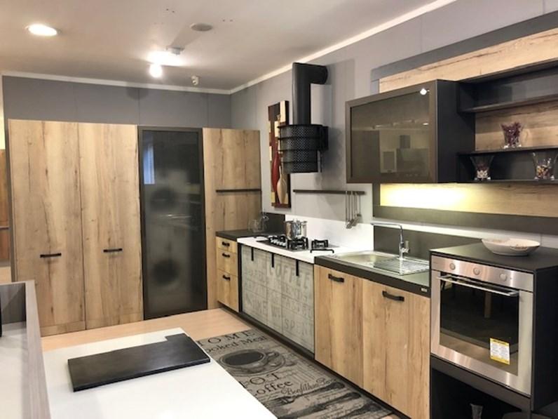 Cucina Loft industriale rovere chiaro ad angolo Snaidero