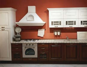 Cucina Lube  classica lineare in legno Mod. Laura bianco vintage e noce