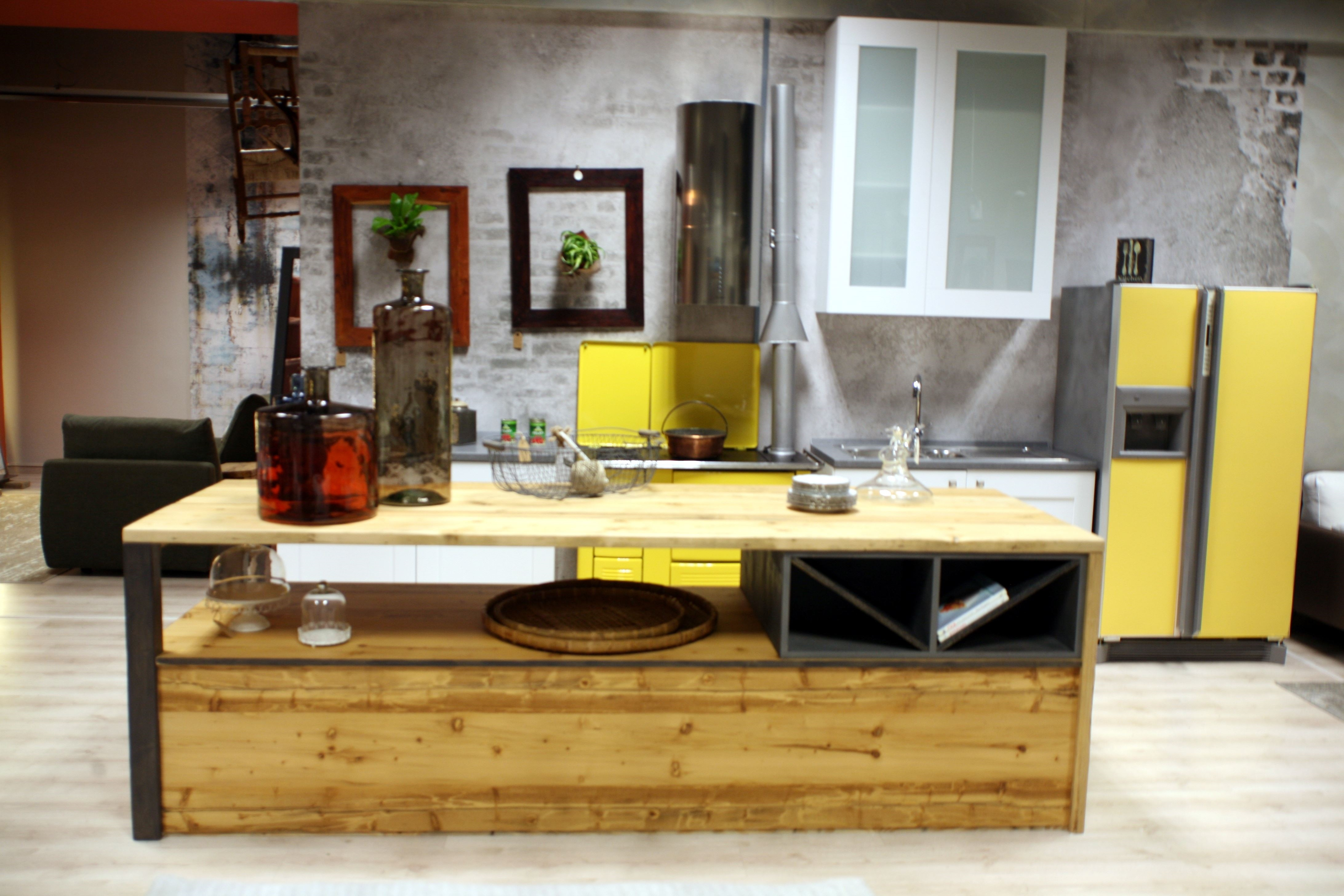 Offerta Cucina Lube Mod. Gallery in Frassino Bianco con Isola Stile Industria...