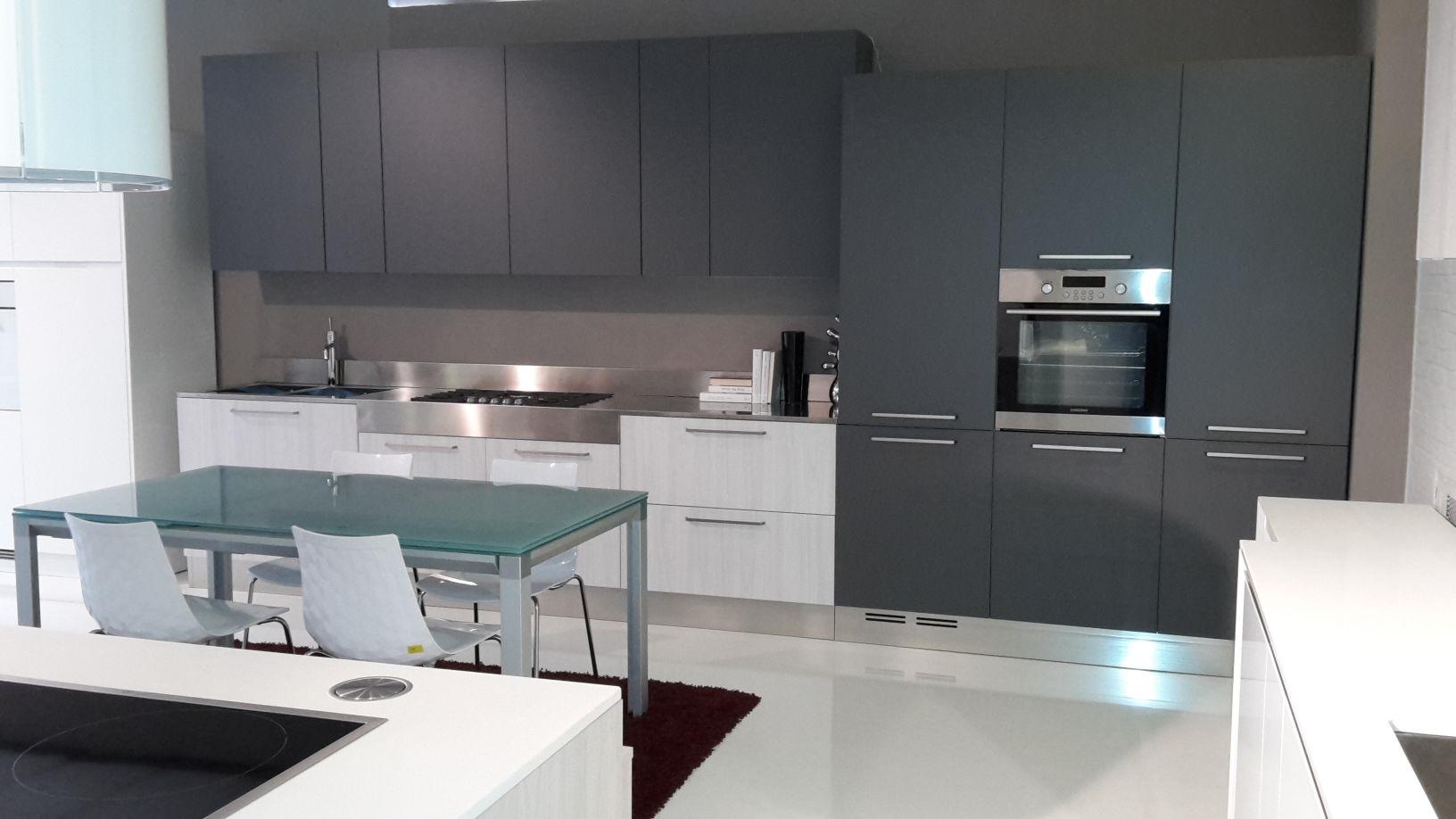 Cucina Luna laminato olmo bianco e grigio grafite - Cucine a prezzi ...