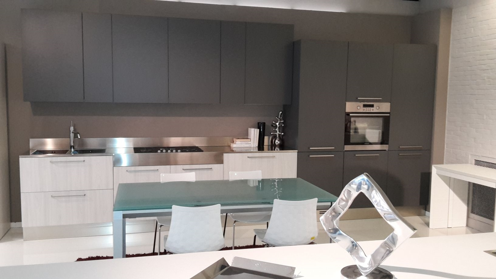 cucina luna laminato olmo bianco e grigio grafite cucine