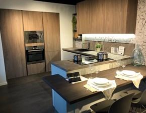 Cucina magnolia design con penisola Sand Febal in Offerta Outlet