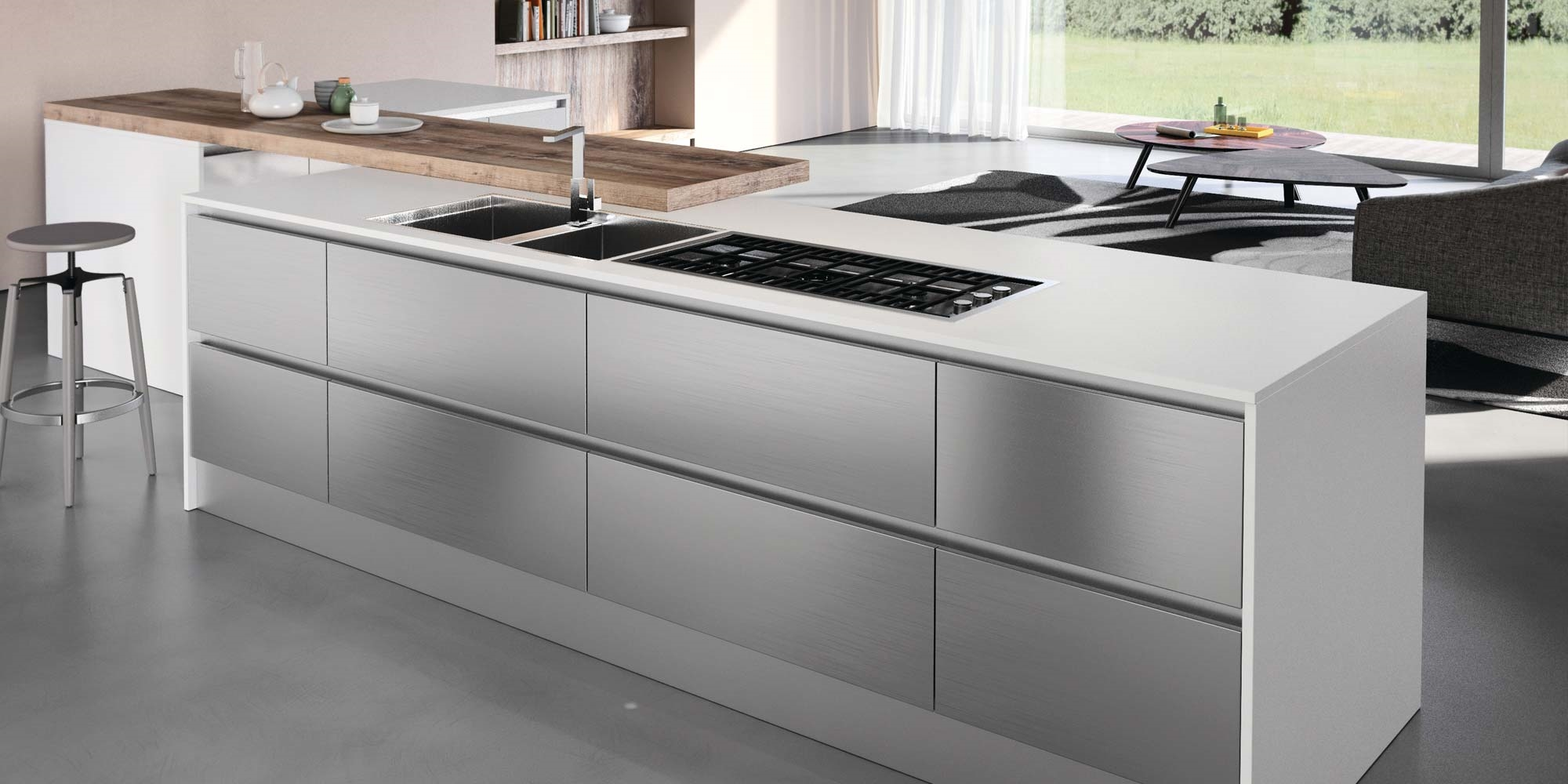 Maior cucine cucina steel con frontali in acciaio inox - Cucina in acciaio ...