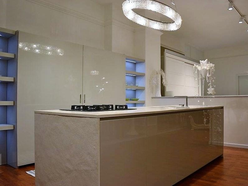 Cucina maistri mod viva 6 laccata lucida grigio perla con isola bifacciale prezzo outlet - Cucine grigio perla ...