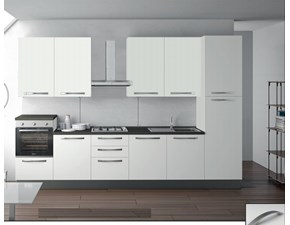 Cucina Md work moderna lineare bianca in laminato opaco Cucina lineare reversibile fine produzione