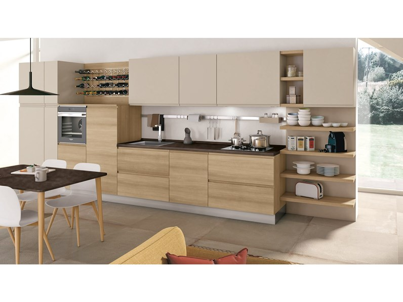Cucina 3 Metri Completa Elettrodomestici Indesit Prezzi.Cucina Modello Jey By Creo Kitchens Moderna In Rovere Chiaro Lineare