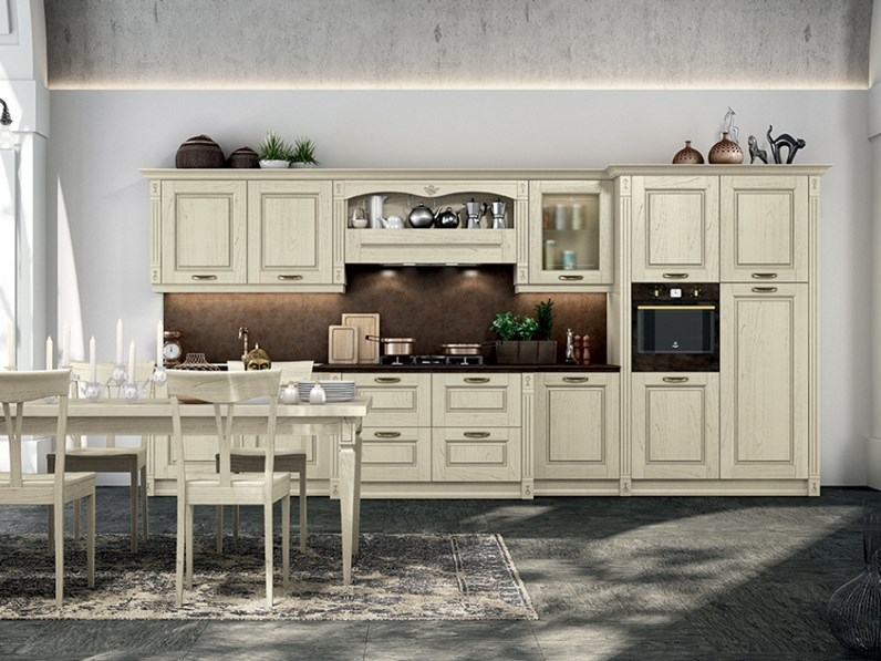 Cucina modello verona in legno personalizzabile piano d for Cucine outlet verona