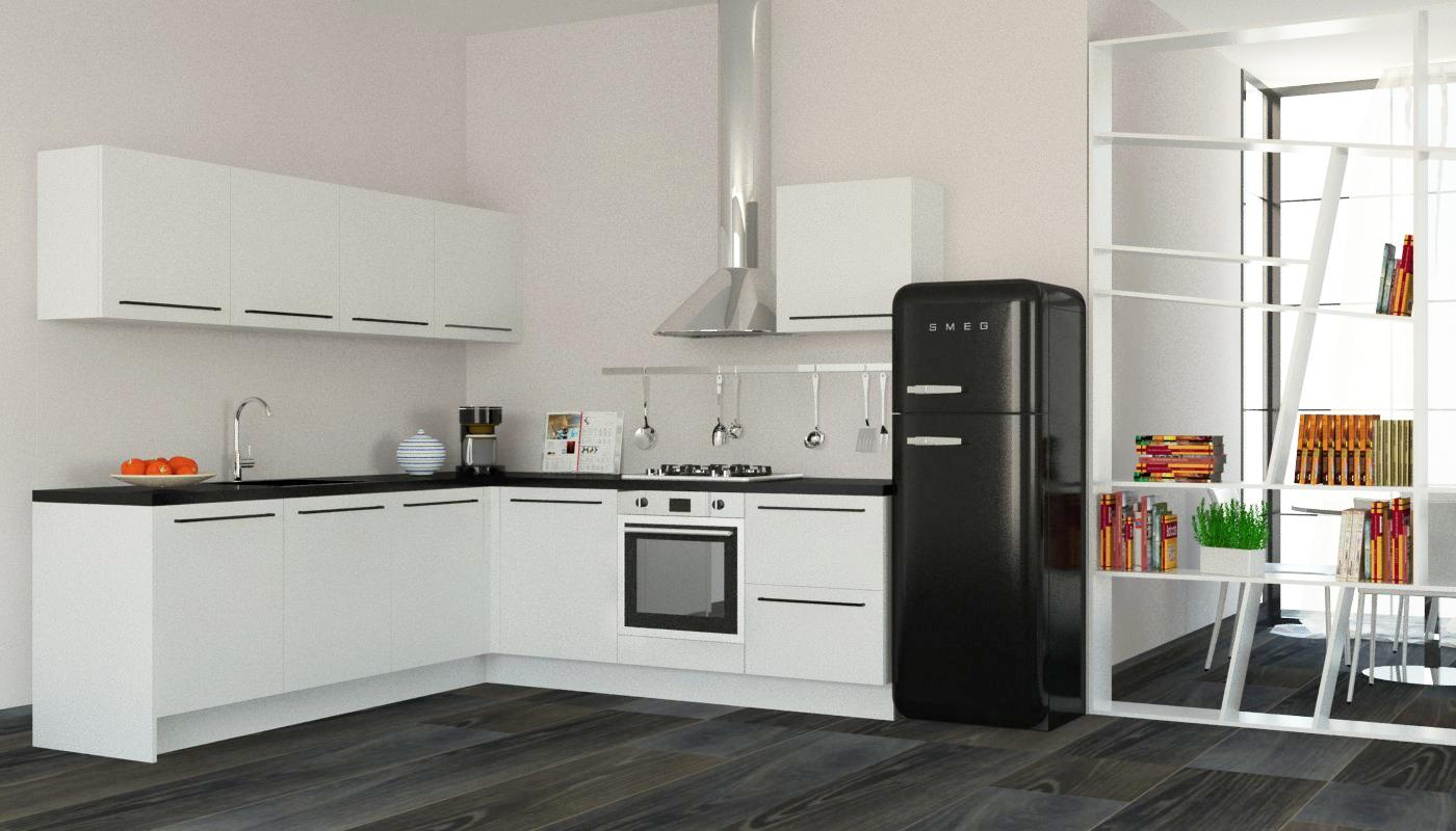 Cucina moderna ad angolo con elettrodomestici inclusi, nuova a ...