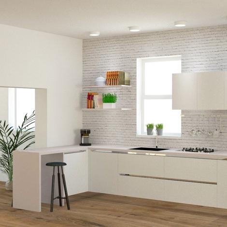Cucina moderna ad angolo, con gola. elettrodomestici inclusi ...