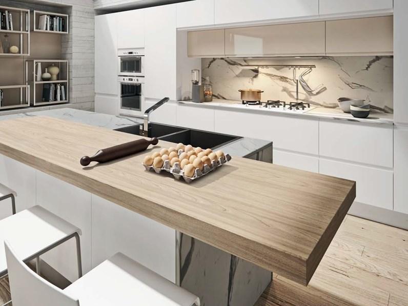 Cucine Moderne Minimal.Cucina Moderna Ad Isola Nuovi Mondi Cucine Cucina White Minimal Design Con Isola A Prezzo Ribassato