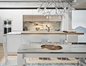 Cucina moderna ad isola Nuovi mondi cucine Cucina white minimal design con isola  a prezzo ribassato